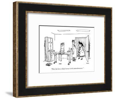 """""""There has been a sharp increase in his cantankerousness."""" - New Yorker Cartoon-George Booth-Framed Premium Giclee Print"""