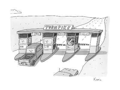"""There is a toll both with a """"riddles"""" lane. The toll taker is a troll. - New Yorker Cartoon-Zachary Kanin-Premium Giclee Print"""