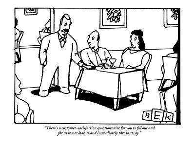 """There's a customer-satisfaction questionnaire for you to fill out and for?"" - New Yorker Cartoon-Bruce Eric Kaplan-Premium Giclee Print"