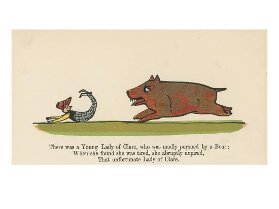 There Was a Young Lady of Clare, Who Was Madly Pursued by a Bear from 'A Book of Nonsense'-Edward Lear-Giclee Print