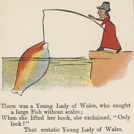 There Was a Young Lady of Wales, Who Caught a Large Fish Without Scales-Edward Lear-Giclee Print