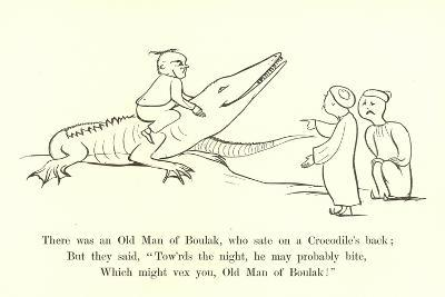 There Was an Old Man of Boulak, Who Sat on a Crocodile's Back-Edward Lear-Giclee Print