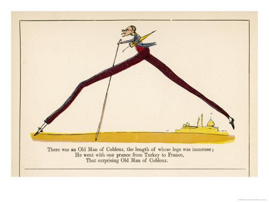 There was an Old Man of Coblenz the Length of Whose Legs was Immense-Edward Lear-Giclee Print