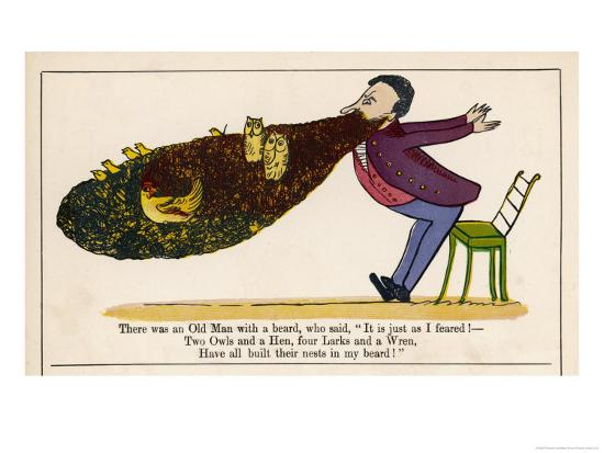 There was an Old Man with a Beard-Edward Lear-Giclee Print