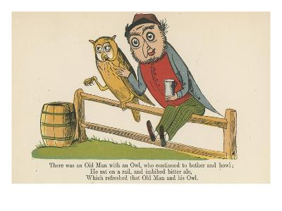 There Was an Old Man with an Owl, Who Continued to Bother and Howl-Edward Lear-Giclee Print