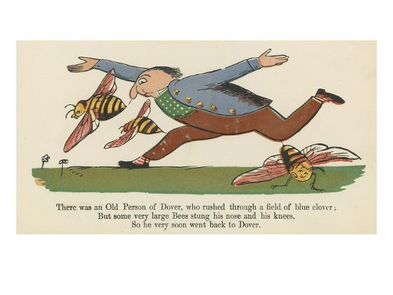 There Was an Old Person of Dover, Who Rushed Through a Field of Blue Clover-Edward Lear-Giclee Print