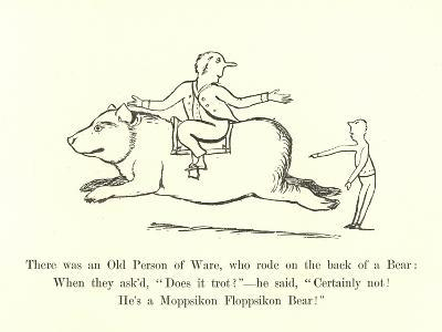 There Was an Old Person of Ware, Who Rode on the Back of a Bear-Edward Lear-Giclee Print