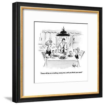 """""""There will be no e-trading, young man, until you finish your peas!"""" - Cartoon-Lee Lorenz-Framed Premium Giclee Print"""