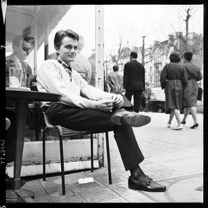 Claude François Having an Outdoor Coffee by Therese Begoin