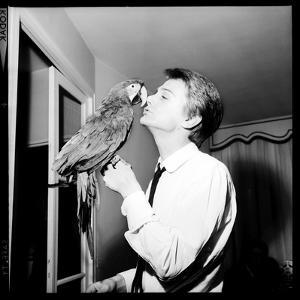 Claude François Kissing His Parrot by Therese Begoin