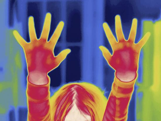 Thermal Image of a 9 Year Old Girl with Outstretched Arms-Tyrone Turner-Photographic Print