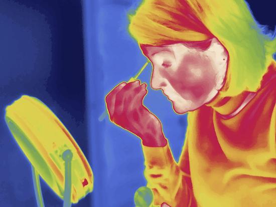 Thermal Image of a Woman Applying Makeup-Tyrone Turner-Photographic Print
