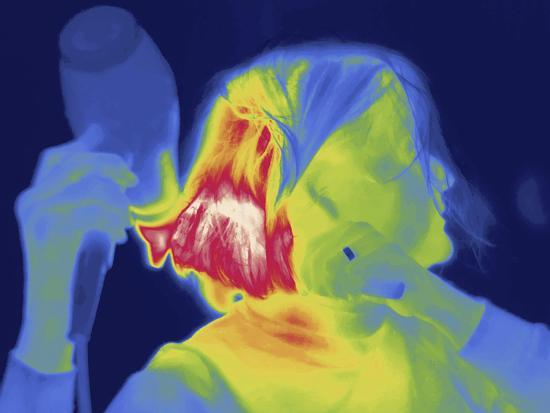 Thermal Image of a Woman Blow Drying Her Hair-Tyrone Turner-Photographic Print
