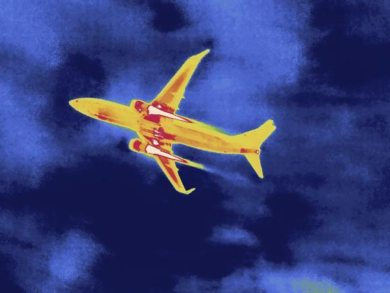 Thermal Image of an Airplane Taking Off from Reagan W. National Airport-Tyrone Turner-Photographic Print