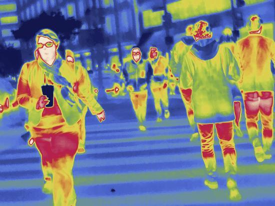 Thermal Image of People in a Crosswalk in Washington D.C-Tyrone Turner-Photographic Print