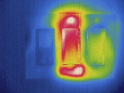 Thermogram - Electrical Light Switches - Middle Switch Is in Use-Scientifica-Photographic Print