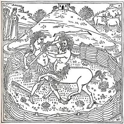 Theseus and the Centaur, Plutarch: Vitae Parallelae, 1491, (1917)--Giclee Print