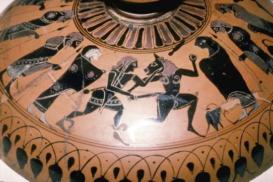Theseus and the Minotaur on the lid of a Greek Dish, c5th century BC-Unknown-Giclee Print