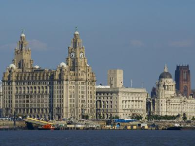 Thethree Graces and Cathedral from the River Mersey Ferry, Liverpool, Merseyside, England, UK-Charles Bowman-Photographic Print