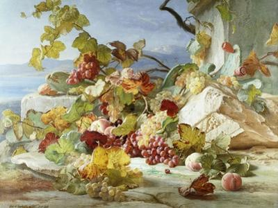 Peaches and Grapes in a Rocky Landscape