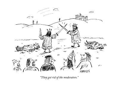 """They got rid of the moderators."" - Cartoon-David Sipress-Premium Giclee Print"