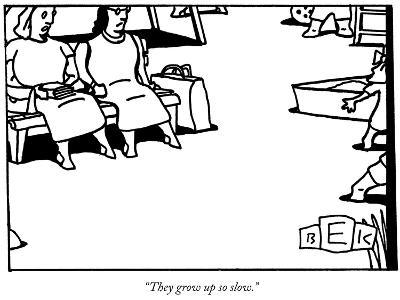 """They grow up so slow."" - New Yorker Cartoon-Bruce Eric Kaplan-Premium Giclee Print"