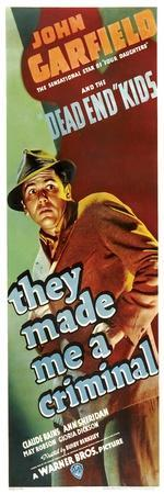 THEY MADE ME A CRIMINAL, John Garfield on insert poster, 1939.--Art Print