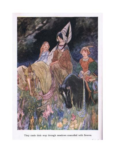 They Made their Way Through Meadows Enamelled with Flowers-Charles Robinson-Giclee Print