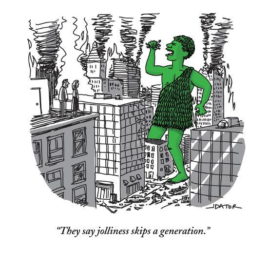 """They say jolliness skips a generation."" - New Yorker Cartoon-Joe Dator-Premium Giclee Print"