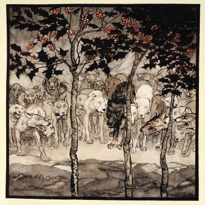 They Stood Outside, Filled with Savagery and Terror, Illustration from 'Irish Fairy Tales'-Arthur Rackham-Giclee Print