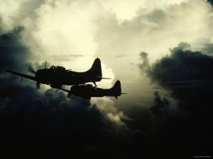 "Thick Cloud Cover US Navy Douglas SBD ""Dauntless"" Torpedo Dive Bombers on Japanese Held Wake Island"
