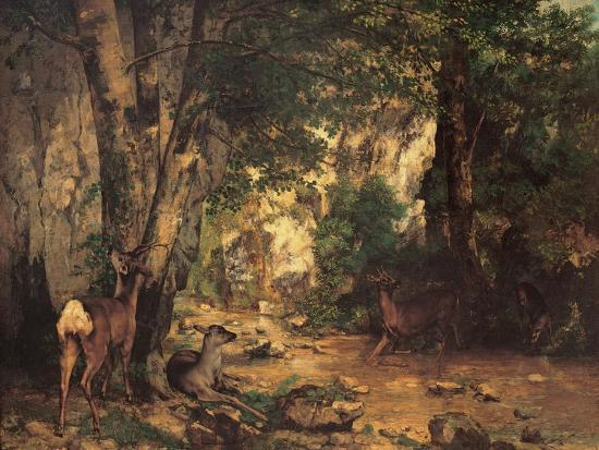 Thicket of Roe Deer at the Stream of Plaisir Fontaine-Gustave Courbet-Art Print