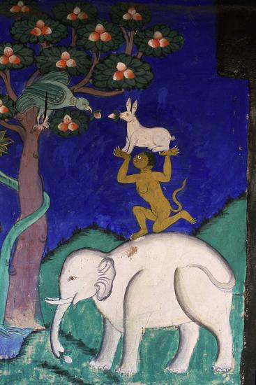 Thikse Monastery, Wall Painting, Ladakh, Himalaya--Giclee Print