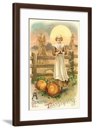 Thin Farm Lady with Wheat and Pumpkins--Framed Art Print