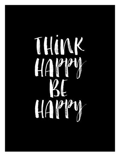 Think Happy Be Happy Watercolor BLK-Brett Wilson-Art Print