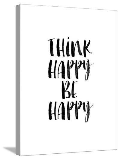Think Happy Be Happy Watercolor WHT-Brett Wilson-Stretched Canvas Print