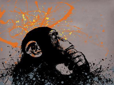 Thinker Monkey-Banksy-Giclee Print