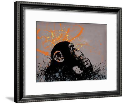 Thinker Monkey-Banksy-Framed Giclee Print
