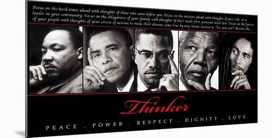 Thinker (Quintet): Peace, Power, Respect, Dignity, Love--Mounted Art Print