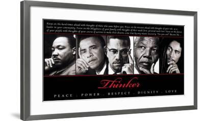 Thinker (Quintet): Peace, Power, Respect, Dignity, Love--Framed Art Print