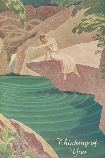 Thinking of You, Woman by Pond--Art Print
