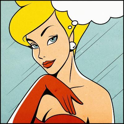 Thinking Woman in Retro Comics Style-Heizel-Art Print