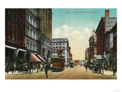 Third Street in Portland, Oregon - Portland, OR-Lantern Press-Art Print