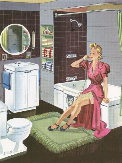 Thirties Bathroom Cheesecake--Art Print