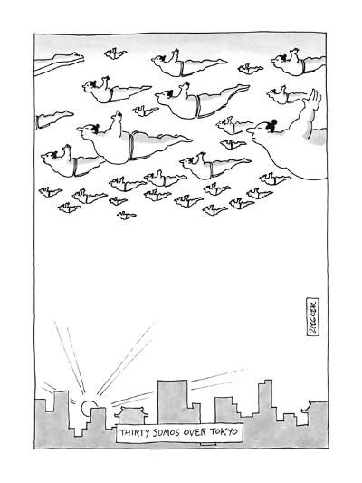 Thirty Sumos Over Tokyo - New Yorker Cartoon-Jack Ziegler-Premium Giclee Print