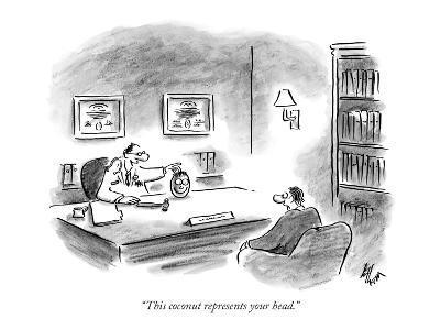 """This coconut represents your head."" - New Yorker Cartoon-Frank Cotham-Premium Giclee Print"