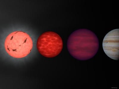 This Figure Shows an Artist's Rendition Comparing Brown Dwarfs to Stars and Planets-Stocktrek Images-Photographic Print