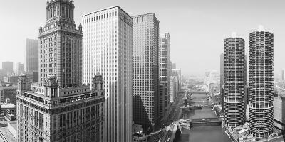 This Is a View Looking over the Chicago River. the Marina Tower Apartments--Photographic Print