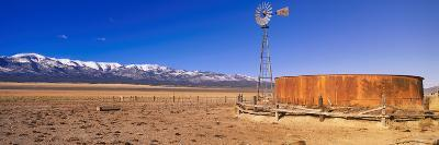 This Is an Old Wooden Windmill in an Open Field in the Old West--Photographic Print