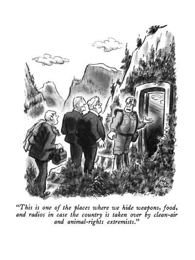 """This is one of the places where we hide weapons, food, and radios in case?"" - New Yorker Cartoon-Ed Fisher-Premium Giclee Print"